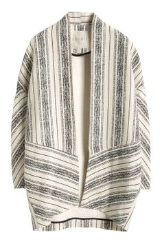 striped cardigan made of textured fabric