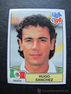 Cromo pegatina Hugo Sanchez Mexico mundial USA 94 coleccion panini n 373 futbol
