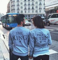 Couples Street Outfits The King And His Queen Long Sleeve Sweatshirts - Lupsona