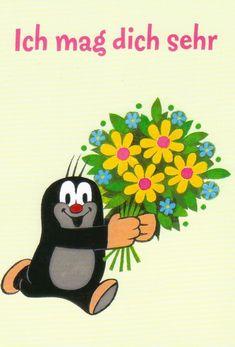 Ansichtskarte: Der kleine Maulwurf sagt es mit Blumen - The little mole • EUR…