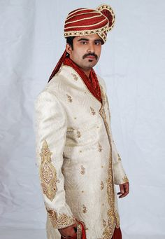 Buy Off White Brocade Readymade Dhoti Sherwani 204350 online at lowest price from our mens wear collection at Indianclothstore.com. Wedding Sherwani, How To Dye Fabric, Color Shades, Lehenga Choli, Off White, Menswear, Blouse, How To Wear, Stuff To Buy