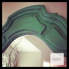 A mirror frame finished in a lovely green color created by mixing 1 part Florence and 1 part Antibes Green Chalk Paint® decorative paint by Annie Sloan | By Thirty Eighth Street www.thirtyeighthstreet.com
