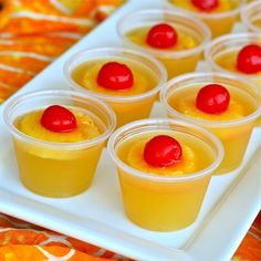 Pineapple Upside Down Cake Jello Shots.    Ingredients & Measurements:  1 cup Pineapple Juice  1.5 packets Knox Unflavored Jello  1 tbsp Sugar  1 cup Cake Vodka/Whipped Vodka  Pineapple  Maraschino Cherries  Plastic Shot Cups