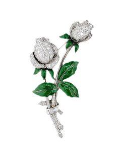 Oscar Heyman diamond and green enamel rose brooch