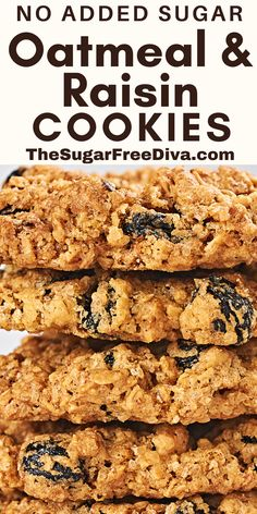 This recipe is so good! A delicious recipe for Oatmeal and Raisin cookies that is nearly sugar free as there is no added sugar! Gluten free option. Perfect for snacks, desserts, school, or Holiday Christmas baking! Sugar Free Cookies, Sugar Free Desserts, Sugar Free Recipes, Yummy Cookies, Baking Recipes, Dessert Recipes, Diabetic Desserts, Oreo Cookies, Kitchen Recipes