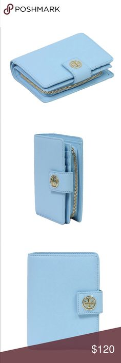 Authentic Tory Burch Robinson Wallet - Baby Blue Baby Blue - Wallet - Zipper Area For Change Tory Burch Bags Wallets