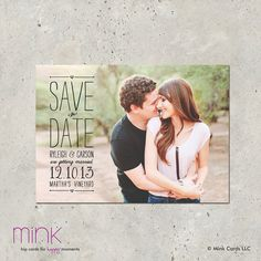 photo save the date postcard  Vintage Scroll by minkcards on Etsy, $64.00