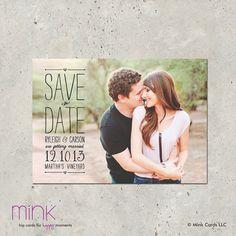 "photo save the date postcard - ""Vintage Scroll"". $64.00, via Etsy."