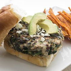 Turkey burger recipe packed with cranberries, Feta, and spinach.