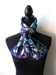 Pink and Blue Batik Flowers Silk Scarf by SilkMari on Etsy