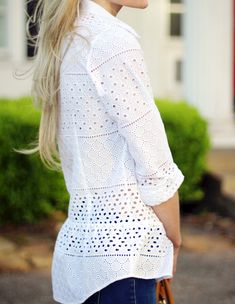 fadc0727bed eyelet blouse detail Dressy Attire, Casual Wear, Beautiful Blouses, Preppy  Style, White