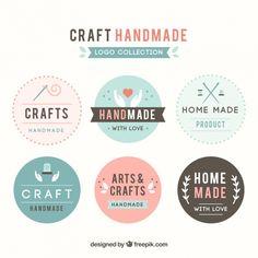 Seis logotipos para la artesanía Vector Gratis