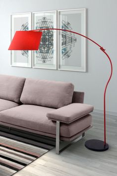Derecho Red Floor Lamp  with a grey living room. love it!