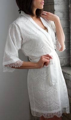 Lace Wedding Robe Bridal Robe White Robe Lace Robe by walkinonair