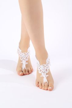 Free Ship white or  ivory  lace Barefoot by ByMiracleBridal