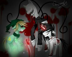 Creepypasta-Pony-fied jeff the killer , BEN , slenderman
