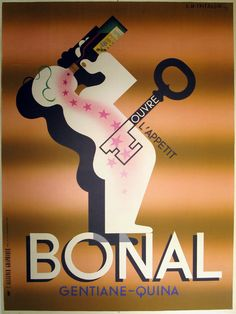 "Bonal 1st Printing Authentic Vintage Poster by A.M. Cassandre Qualifies for free shipping! Artist A.M. Cassandre is often called ""the ultimate graphic designer,"" as his posters and stylized images wer"