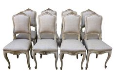 Carved French Dining Chairs, S/8