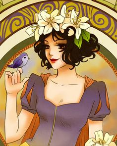 Disney Princesses Mucha Style Pin-Up Art — GeekTyrant - I love these drawings of Disney heroines - combines stylles from several artists/art movements that I like - in a beautiful new style!
