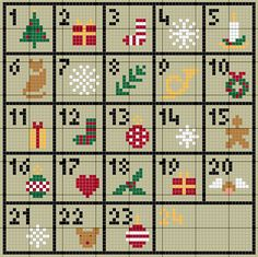 Advent Calendar pattern - could use the pattern for tapestry crochet pockets?
