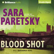 I finished listening to Blood Shot: V.I. Warshawski, Book 5 (Unabridged) by Sara Paretsky, narrated by Susan Ericksen on my Audible app.  Try Audible and get it free.