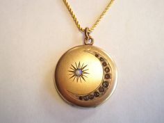 sun and moon locket | Antique Victorian Moon Locket with Small Opal and by springthaw