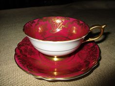 PARAGON BONE CHINA FOOTED TEA CUP & SAUCER SET BURGUNDY RED HEAVY GOLD ENGLAND