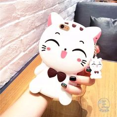 Cute iphone 7 plus cases 3d White / Black Cat Soft Silicone Cases for Girls