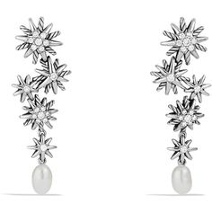 David Yurman Starburst Drop, Earrings with Pearls and Diamonds ($1,100) ❤ liked on Polyvore featuring jewelry, earrings, pearl jewellery, david yurman jewelry, pave diamond earrings, pearl jewelry and diamond jewelry