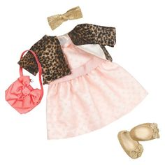 The perfect party outfit—Our Generation A Night of Fancy Outfit. Your little one can go out and have a night of fun with her dollie. Outfit includes a pale pink dress, shrug, hair bow, purse, pair of shoes and a bracelet.
