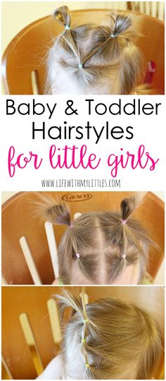 Not sure how to style your baby girl or toddler girl's hair? Check out these simple hairstyles for little girls! Tons of cute ideas for baby girl or toddler girl hairstyles!