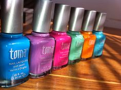My NEW nail varnishes scream- Vintage,Girly & Bang On Trend Spring/Summer Colours! Don't you love them?!    I am really into my Girly vintage pastel colours at the moment and I think I am totally obsessed with buying more and more beauty items lately! So I couldnt resist these beautiful nail varnishes from Toma By MAD Beauty, it's their Tutti Fruitti Collection(Love that name).    The collection features six sorbet shades of polish and some of the shade names range from Strawberries