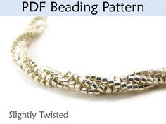 Beading Tutorial Pattern Bracelet Necklace - Twisted Herringbone Stitch - Simple Bead Patterns - Slightly Twisted #3731