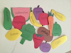 Make construction paper fruits and veggies. Use as props in a writing center (opinion writing, descriptive, ABC order, recipes, etc)