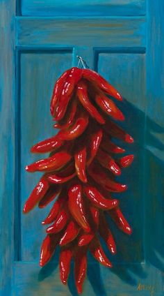 Ain't nothing more Southwestern than a string of chiles (a ristral) on a turquiose door. I Grandin Road Color Crush on Red. Ain't nothing more Southwestern than a string of chiles (a ristral) on a turquiose door. I Grandin Road Color Crush on Red. Southwestern Art, Southwestern Decorating, Southwest Decor, Southwest Style, Mexico Style, Mexico Art, New Mexico, Santa Fe Style, Arte Floral