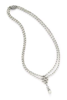 A Belle Epoque Natural Pearl and Platinum Necklace, circa 1900. Available at FD Gallery. www.fd-inspired.com