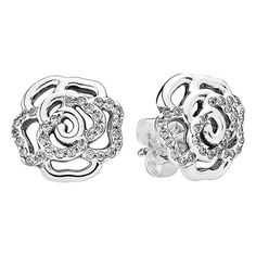 PANDORA 'Shimmering Rose' Stud Earrings ($60) ❤ liked on Polyvore featuring jewelry, earrings, silver, post earrings, stud earrings, sparkle jewelry, stud earring set and pandora earrings