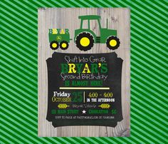 Tractor birthday invitation - John Deere Farm Style with rustic wood background and chalkboard frame on Etsy, $12.00