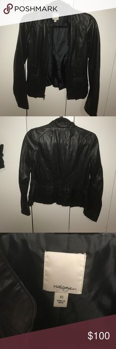 AUTHENTIC Halogen leather jacket Awesome authentic halogen leather jacket. Looks amazing on and has a ruffle detail on the soooo cute!! Halogen Jackets & Coats