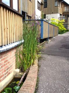 SuDS in very tight urban situation : Raised rill channel to pool.  Springhill cohousing, Stroud.  Robert Bray Assoc.