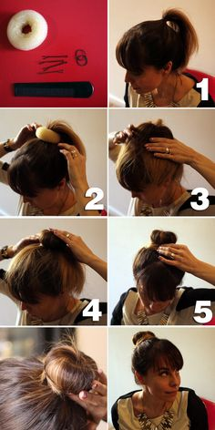 Variation on the sock bun tutorial - she uses an elastic to secure the sock bun, I like to tuck my hair into the donut and secure with bobby pins.  Her way allows you to play around with the size though.  Must try.