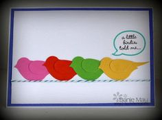handmade card ... clean and simple ... two step bird punch ... four birds punched in bright colors ... baker's twine line ... Stampin' Up!