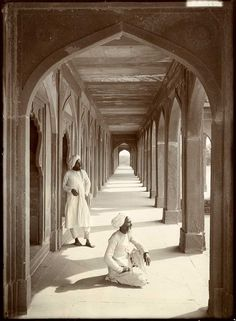 Cloisters at Akbars Tomb, Agra, India by Herbert Ponting