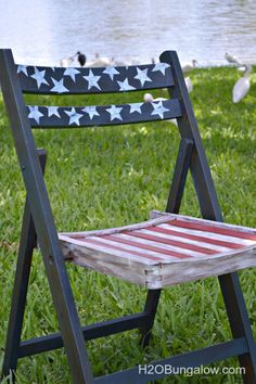 Sit in style with these painted chairs, perfect for an afternoon lawn party or barbecue.