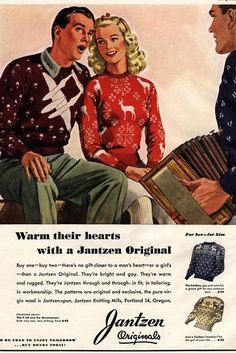 Styles have come and gone, but the traditional Christmas sweater has been an American tradition for at least 70 years. In an ad from the 1940s, Jantzen offers men's and women's versions red white reindeer burgundy airplane parachute knit sweater print ad color illustration