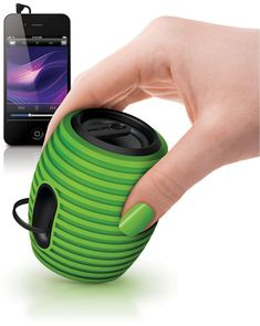 The grenade shaped Philips SoundShooter is a wireless Bluetooth portable speaker that packs quite a punch for a speaker of its size. Just pair it via Bluetooth with your phone and you can pump music loud enough to fill up a small room for up to 8 hours on a single full charge of its rechargeable lithium battery.  The Philips SoundShooter even comes with a built-in microphone so it doubles up as a speaker for making hands-free phone calls.