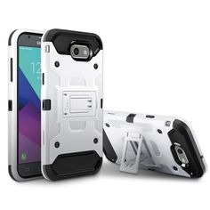 Samsung Galaxy On 7 2016 / J7 Prime / J7 2017 Armor Hybrid Dual Layer Shockproof Touch Kickstand Case Cover White