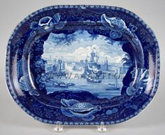 "Staffordshire Platter, Maritime Views  Enoch Wood & Sons  ""View of Dublin""  1818 - 1846"