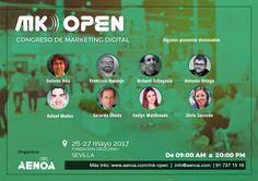 Elenco de ponentes 1/3 #MKOpen, Congreso de #Marketingdigital en #Sevilla. Entra en la web y descubre todo lo que te estás perdiendo. #SEO #SEM #Posicionamientoweb #Redessociales #Ecommerce http://www.aenoa.com/mk-open/