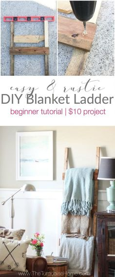 What an easy project! I did this in an afternoon! Easy and rustic DIY blanket ladder. Perfect for a newbie!